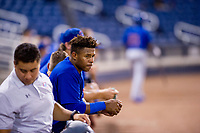 AZL Cubs left fielder Nelson Velazquez (20) watches the action from the dugout during a game against the AZL Brewers on August 24, 2017 at Maryvale Baseball Park in Phoenix, Arizona. AZL Cubs defeated the AZL Brewers 9-1. (Zachary Lucy/Four Seam Images)