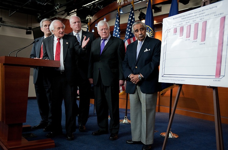 UNITED STATES - NOVEMBER 03:  From left, Democratic members of the House Ways and Means Committee, Lloyd Doggett, D-Texas, Sander Levin, D-Mich., Joe Crowley, D-N.Y., Jim McDermott, D-Wash., and Charlie Rangel, D-N.Y., conduct a news conference in the Capitol Visitor Center to introduce an unemployment insurance extension bill called the Emergency Unemployment Compensation Extension Act of 2011.  (Photo By Tom Williams/CQ Roll Call)
