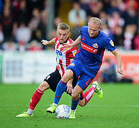 Lincoln City's Joe Morrell battles with Sunderland's Dylan McGeouch<br /> <br /> Photographer Andrew Vaughan/CameraSport<br /> <br /> The EFL Sky Bet League One - Lincoln City v Sunderland - Saturday 5th October 2019 - Sincil Bank - Lincoln<br /> <br /> World Copyright © 2019 CameraSport. All rights reserved. 43 Linden Ave. Countesthorpe. Leicester. England. LE8 5PG - Tel: +44 (0) 116 277 4147 - admin@camerasport.com - www.camerasport.com