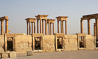 Shops in the Roman Forum, with Tetrapylon behind, Palmyra, Syria Picture by Manuel Cohen
