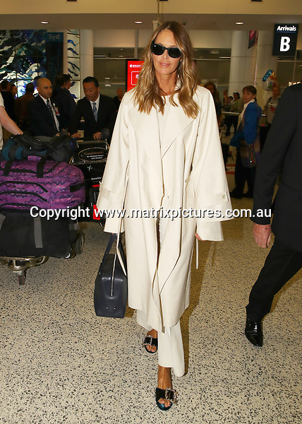 9 SEPTEMBER 2016 SYDNEY, AUSTRALIA<br /> WWW.MATRIXPICTURES.COM.AU<br /> <br /> NON EXCLUSIVE <br /> <br /> Elle Macpherson pictured on arrival into Sydney. <br /> <br /> <br /> *ALL WEB USE MUST BE CLEARED*<br /> <br /> Please contact prior to use:  <br /> <br /> +61 2 9211-1088 or email images@matrixmediagroup.com.au