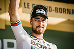 World Champion Peter Sagan (SVK) Bora-Hansgrohe at sign on before the start of Stage 10 of the 2018 Tour de France running 158.5km from Annecy to Le Grand-Bornand, France. 17th July 2018. <br /> Picture: ASO/Pauline Ballet | Cyclefile<br /> All photos usage must carry mandatory copyright credit (&copy; Cyclefile | ASO/Pauline Ballet)