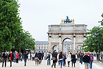 The Arc de Triomphe du Carrousel, built by Percier and Fontaine (circa 1806 to 1808) to celebrate the Napoleonic victories of 1805, Tuileries Gardens (Jardin des Tuileries) in spring, Paris, France, Europe