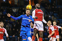 Max Ehmer of Gillingham wins the aerial battle during the Sky Bet League 1 match between Gillingham and Fleetwood Town at the MEMS Priestfield Stadium, Gillingham, England on 27 January 2018. Photo by David Horn.