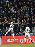 Calcio, semifinali di andata di Coppa Italia: Juventus vs Inter. Torino, Juventus Stadium, 27 gennaio 2016.<br /> Juventus' Alvaro Morata, left, celebrates with teammate Leonardo Bonucci after scoring on a penalty kick during the Italian Cup semifinal first leg football match between Juventus and FC Inter at Juventus stadium, 27 January 2016.<br /> UPDATE IMAGES PRESS/Isabella Bonotto