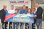 Michael O'Sullivan, Ballycleave, Glenbeigh is this weeks Buy Kerry winner. Pictured at Tool-Line, Castlemaine on Tuesday were Brendan Kennelly, Kerrys Eye, Brendan O'Connor, KIllorglin Credit Union, Linus Og Burke, Shaz Malik, Kerrys Eye, Michael O'Sullivan, winner, Alma and Pauline O'Sullivan and Linus Burke, Tool-Line.