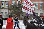 Candidate Carol Moseley Braun, a former U.S. Senator and Ambassador to New Zealand, walks with friends and campaign workers in on her way to cast her ballot in the Chicago mayoral elections at Ray School in Hyde Park in Chicago, Illinois on February 22, 2011.