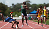 """Going Down"".Long Branch's Mike Bland coasts to a stop as he wins the 200, but Lakewood's Cameron Craig slips and takes a spill at the Shore Conference Championships. 5/15/04"