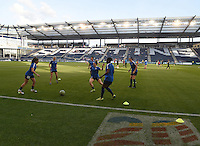 Kansas City, Kansas - Saturday April 16, 2016: FC Kansas City players warm up before the game against Western New York Flash at Children's Mercy Park. Western New York won 1-0.