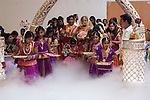 Hindu puberty coming of age party, Mitcham London 2016. Mother and daughter with her Maids of Honour.
