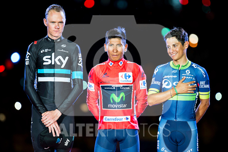 Left to the right,  Christopher Froome (2nd position) Nairo Quintana, (1st position) and Esteban Sanchez (3th position) of La Vuelta a España 2016 in Madrid. September 11, Spain. 2016. (ALTERPHOTOS/BorjaB.Hojas)