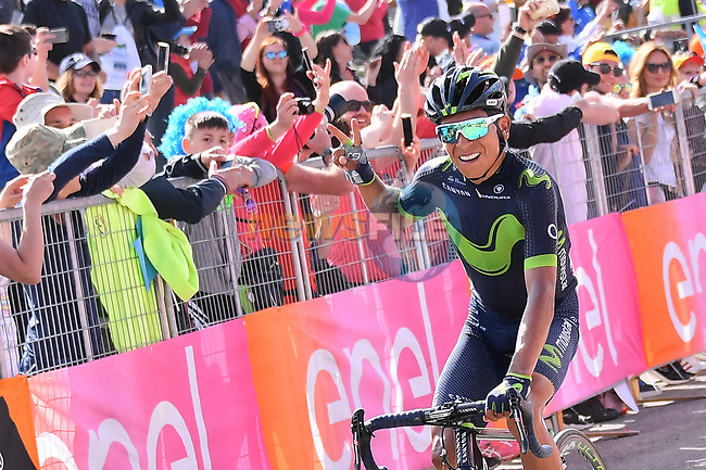 Nairo Quintana (COL) Movistar Team takes a solo victory on Stage 9 of the 100th edition of the Giro d'Italia 2017, running 149km from Montenero di Bisaccia to Blockhaus, Italy. 14th May 2017.<br /> Picture: LaPresse/Gian Mattia D'Alberto | Cyclefile<br /> <br /> <br /> All photos usage must carry mandatory copyright credit (&copy; Cyclefile | LaPresse/Gian Mattia D'Alberto)