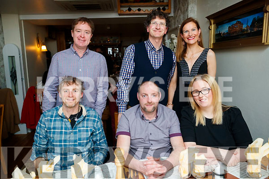 Friends enjoying a night out at Bella Bia restaurant, Tralee, on Friday night last were front l-r: Padraig Regan, Micheál Regan and Lorraine Regan. Back l-r: Gerald Carroll, Billy O'Connor and Mary O'Carroll, (all from Kilmoyley).