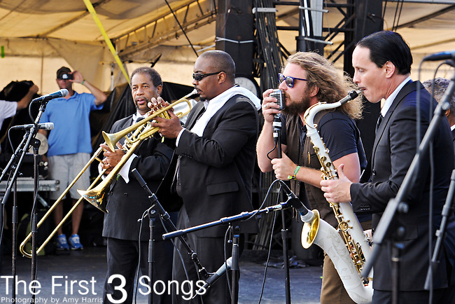 Jim James performs with Preservation Hall Jazz Band at Forecastle Festival in Louisville, Kentucky.