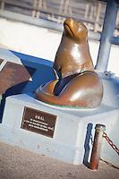 Bronze Seal Sculpture On Seal Beach Pier