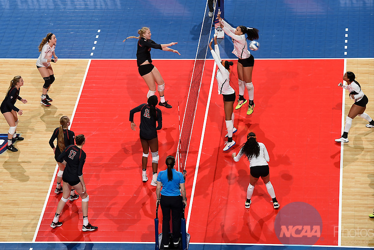 COLUMBUS, OH - DECEMBER 17:  Kathryn Plummer (2) of Stanford University attempts a kill against the University of Texas during the Division I Women's Volleyball Championship held at Nationwide Arena on December 17, 2016 in Columbus, Ohio.  Stanford defeated Texas 3-1 to win the national title. (Photo by Jamie Schwaberow/NCAA Photos via Getty Images)