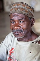 Zanzibar, Tanzania.  Old Man Wearing a Traditional Hat, a Kofia.