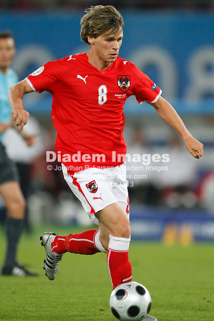 VIENNA - JUNE 16:  Christoph Leitgeb of Austria drives the ball against Germany during a UEFA Euro 2008 Group B match at Ernst Happel Stadion June 16, 2008 in Vienna, Austria.  (Photograph by Jonathan P. Larsen)