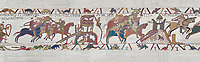 Bayeux Tapestry scene 18: The Norman army of Duke Willam enters Dol and the Rennes, Duke Conan of Brittany flees.   BYX18