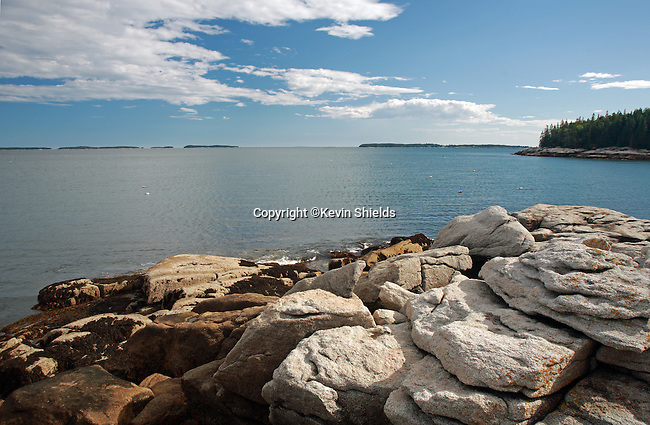Summertime view of the rocky coast of Maine at Birch Point Beach State Park, Owls Head, Maine, USA