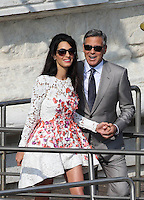 George Clooney & wife Amal Alamuddin show off their wedding bands  - Venice -  Italy