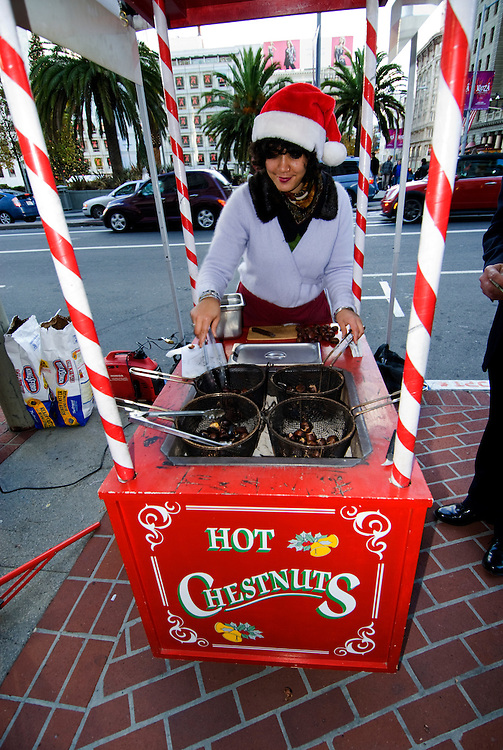 California, San Francisco:  Selling roasted chestnuts at Christmas on Union Square..Photo #: 32-casanf75908.Photo © Lee Foster 2008