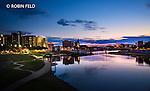 Dayton ohio skyline photo sunset with river and Main St. Bridge