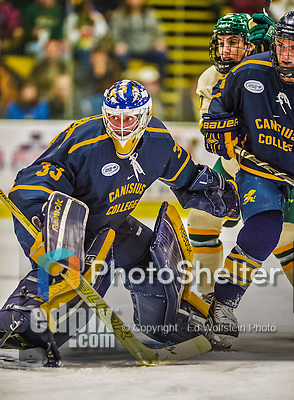 29 December 2013:  Canisius College Golden Griffins goaltender Keegan Asmundson, a Junior from Inver Grove Heights, MN, in second period action against the University of Vermont Catamounts at Gutterson Fieldhouse in Burlington, Vermont. The Catamounts defeated the Golden Griffins 6-2 in the 2013 Sheraton/TD Bank Catamount Cup NCAA Hockey Tournament. Mandatory Credit: Ed Wolfstein Photo *** RAW (NEF) Image File Available ***