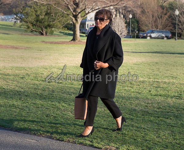 Amalija Knavs, mother of first lady Melania Trump walks to the White House following U.S. President Donald J. Trump after his visit to Mar-a-Lago, Florida. Photo Credit: Chris Kleponis/CNP/AdMedia