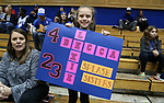 DURHAM, NC - NOVEMBER 30: A young Duke fan holds up a sign supporting Lexie Brown and Rebecca Greenwell. The Duke University Blue Devils hosted the Ohio State Buckeyes on November 30, 2017 at Cameron Indoor Stadium in Durham, NC in a Division I women's college basketball game, and as part of the annual ACC-Big Ten Challenge. Duke won the game 69-60.
