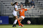 15 October 2016: Virginia's Alexis Shaffer (8) and Duke's Olivia Erlbeck (left). The Duke University Blue Devils hosted the University of Virginia Cavaliers at Koskinen Stadium in Durham, North Carolina in a 2016 NCAA Division I Women's Soccer match. Duke won the game 1-0.