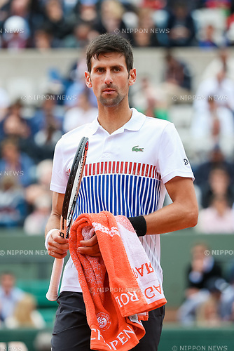Novak Djokovic (SRB), JUNE 7, 2017 - Tennis : Novak Djokovic of Serbia during the Men's singles quarter-final match of the French Open tennis tournament against Dominic Thiem of Austria at the Roland Garros in Paris, France. (Photo by AFLO)