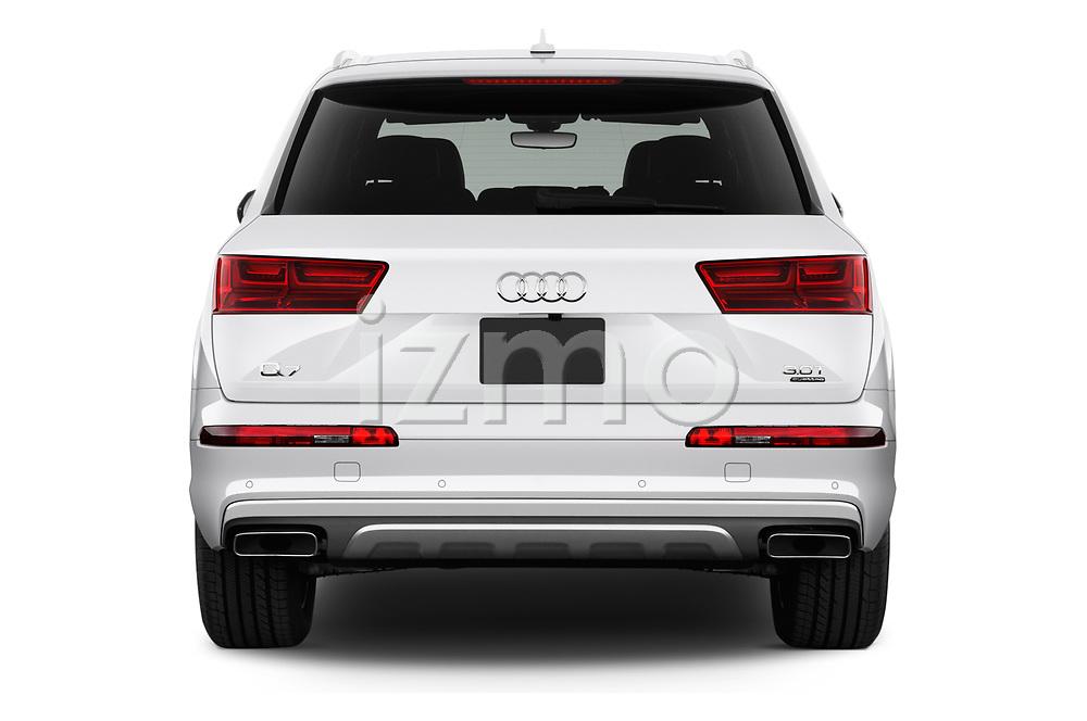 Straight rear view of 2017 Audi Q7 Premium  5 Door SUV stock images