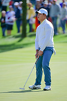 Si Woo Kim (KOR) barely misses his putt on 3 during round 3 Four-Ball of the 2017 President's Cup, Liberty National Golf Club, Jersey City, New Jersey, USA. 9/30/2017.<br /> Picture: Golffile | Ken Murray<br /> <br /> All photo usage must carry mandatory copyright credit (&copy; Golffile | Ken Murray)