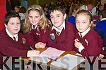 CONFIDENCE: Hayden Johnson, Caoimhe Flahive, Graham Slattery and Eve Roche who were very confidence in answering the questions at the Glanmaurice Credit Union, primary school table quiz on Sunday.in Causeway comprehensive sec school, gym.