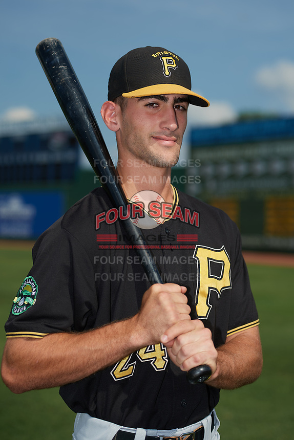 Bristol Pirates Manny Bejerano (24) poses for a photo before a game against the Elizabethton Twins on July 29, 2018 at Joe O'Brien Field in Elizabethton, Tennessee.  Bristol defeated Elizabethton 7-4.  (Mike Janes/Four Seam Images)