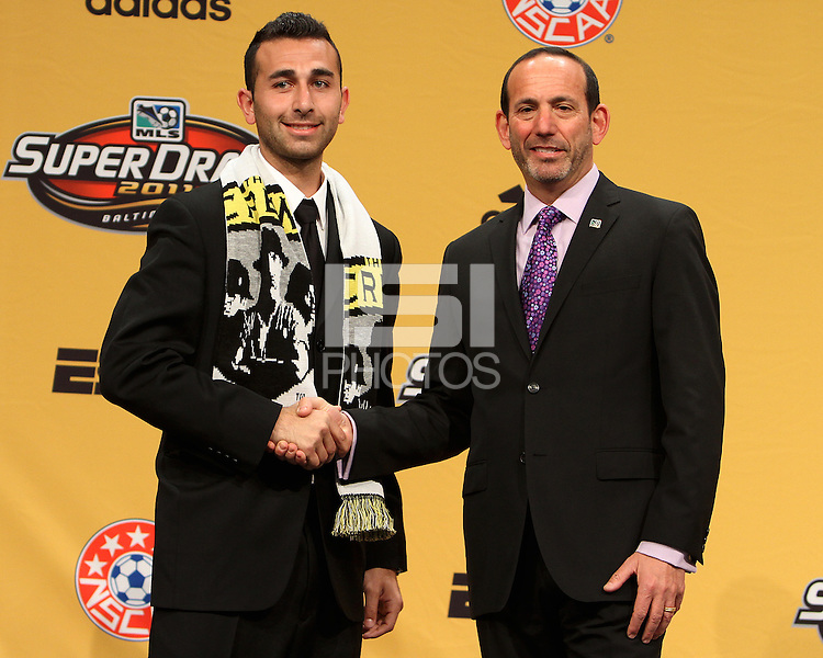 Justin Meram with commissioner Don Garber at the 2011 MLS Superdraft, in Baltimore, Maryland on January 13, 2010.