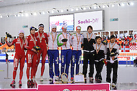 SPEEDSKATING: SOCHI: Adler Arena, 24-03-2013, Essent ISU World Championship Single Distances, Day 4, podium Team Pursuit Ladies, © Martin de Jong