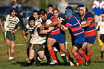 Luke Mealamu tries to bust out of Mark Selwyn's tackle. Counties Manukau Premier Club Rugby game between Manurewa & Ardmore Marist, played at Mountfort Park Manurewa on Saturday June 21st 2008..Manurewa won 32 - 29.