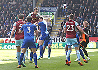 Burnley's Kevin Long scores his side's second goal <br /> <br /> Photographer Rich Linley/CameraSport<br /> <br /> The Premier League - Burnley v Leicester City - Saturday 14th April 2018 - Turf Moor - Burnley<br /> <br /> World Copyright &copy; 2018 CameraSport. All rights reserved. 43 Linden Ave. Countesthorpe. Leicester. England. LE8 5PG - Tel: +44 (0) 116 277 4147 - admin@camerasport.com - www.camerasport.com
