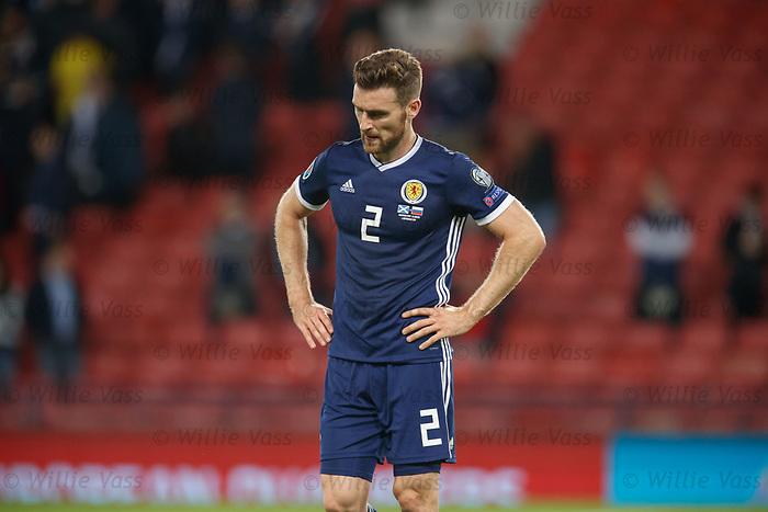 06.09.2019 Scotland v Russia, European Championship 2020 qualifying round, Hampden Park:<br /> Stephen O'Donnell dejection