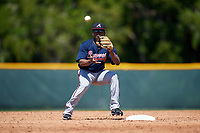 Atlanta Braves Nicholas Shumpert (2) during a minor league Spring Training game against the Pittsburgh Pirates on March 13, 2018 at Pirate City in Bradenton, Florida.  (Mike Janes/Four Seam Images)