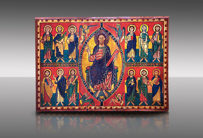 """Altar of Esquius - Painted wooden panel<br /> <br /> Second quarter of the twelfth century<br /> <br /> Probably comes from the ancient Chapel of Santa Maria of Besora Castle <br /> <br /> Aquired by the National Art Museum of Catalonia, Barcelona 1958. Ref: 65502 MNAC.<br /> <br /> <br /> The use of valuable pigments (lapis lazuli, orpiment, cinabri) on the Altar panel, suggests that this front was painted in an important monastery scriptorium like Ripoll. The poetic inscription that runs around the mandorla surrounding Christ is very characteristic of the intellectual environment of Ripoll """"This is the God of Alfa and Omega. Come, O merciful with Your mercy, and remove the chains of missery. Amen."""" This is flanked by Tetramorph showing the four evangelical symbols - St Matthew the man, St Mark the lion, St Luke the ox, and John the eagle. The rest of the panel depicts the 12 apostles."""