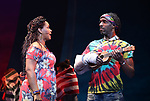 Rema Webb and Andre Ward during the Press Sneak Peak for the Jimmy Buffett  Broadway Musical 'Escape to Margaritaville' on February 15, 2018 at the Marquis Theatre in New York City.