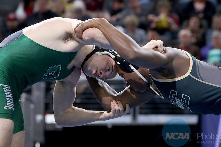 12 MARCH 2016:  Nick Becker from Wis.-Parkside battles with Blaze Shade from UNC Pembroke in their 174 pound weight class at the 2016 NCAA Men's Division II Wrestling Championship at the Denny Sanford Premier Center in Sioux Falls, S.D. Photo by Dave Eggen/NCAA Photos