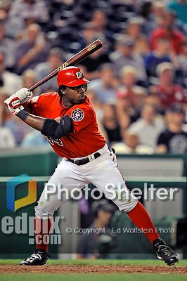 21 June 2008: Washington Nationals' outfielder Lastings Milledge at bat against the Texas Rangers at Nationals Park in Washington, DC. The Rangers defeated the Nationals 13-3 in the second game of their 3-game inter-league series...Mandatory Photo Credit: Ed Wolfstein Photo