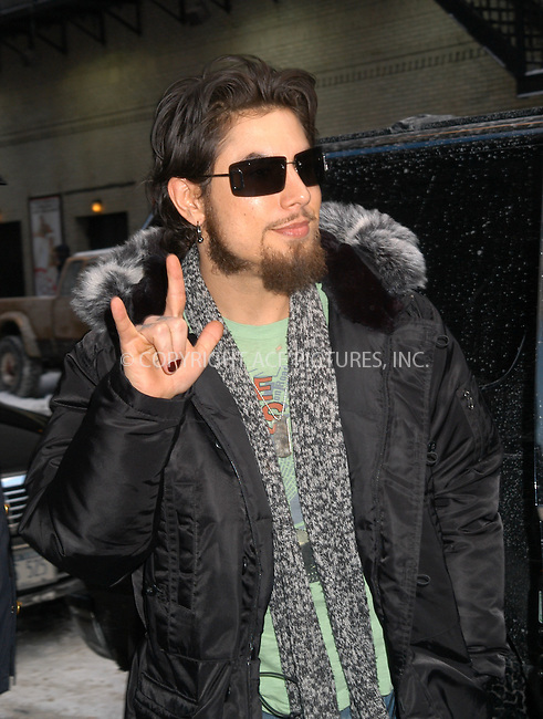 "Carmen Electra and husband Dave Navarro (of the band ""Jane's Addiction"") on the way into the ""Late Show with David Letterman"", New York City, January 15 2004. Please byline: AJ SOKALNER/NY Photo Press.   ..*PAY-PER-USE*      ....NY Photo Press:  ..phone (646) 267-6913;   ..e-mail: info@nyphotopress.com"