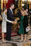 King Felipe VI of Spain (c), Queen Letizia of Spain (l) and Ana Pastor, President of Congress of Deputies of Spain during the National Day acts. October 12 ,2016. (ALTERPHOTOS/Pool)