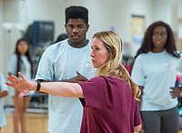 NWA Democrat-Gazette/BEN GOFF @NWABENGOFF<br /> Liz White, Rogers High dance teacher, works with the Dance 4 class Thursday, Sept. 6, 2018, for an upcoming performance at Rogers High School. The school's dance classes are working on routines for the Back to School Kermes latin food festival, from 12:00 p.m. to 4:00 p.m. Sunday in the school's courtyard. The public event is a fundraiser for the school's dance program.