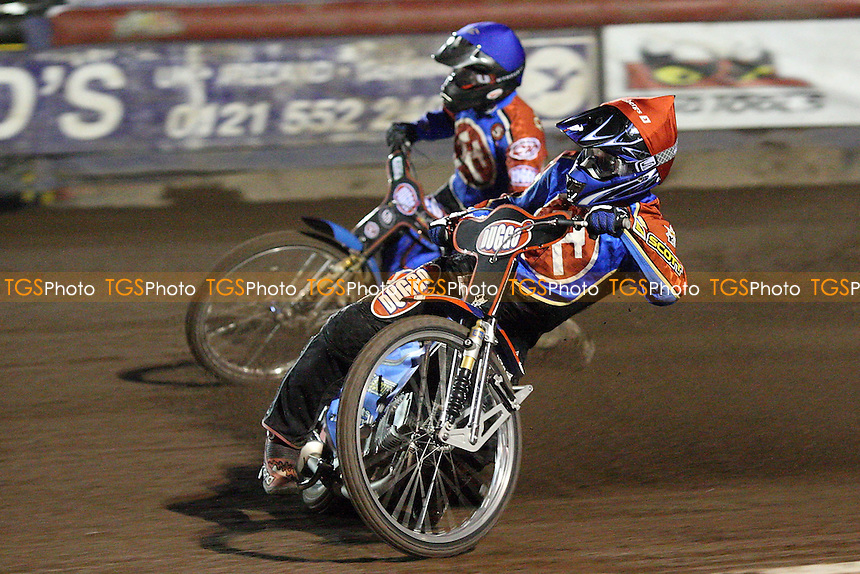 Heat 13: Andreas Jonsson (red) and Joonas Klymakorpi on their way to a 5-1 - Lakeside Hammers vs Peterborough Panthers - Craven Shield Speedway at Arena Essex - 28/03/08 - MANDATORY CREDIT: Gavin Ellis/TGSPHOTO. Self-Billing applies where appropriate. NO UNPAID USE. Tel: 0845 094 6026